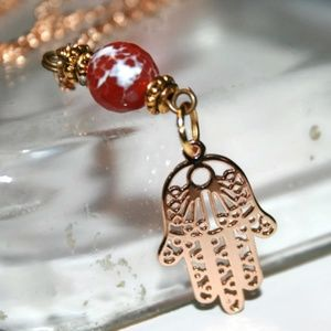 24k Gold Plated Hamsa Necklace w/ Red Agate Stone